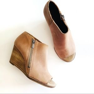 Lucky Brand   Nubuck Leather Peep Toe Booties 6.5